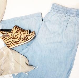 PLUS SIZE 》2x Chambray Ultra Wide Leg Comfort Pant
